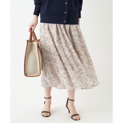 スカート 品のある小花柄が女性らしい印象 プリントギャザースカート