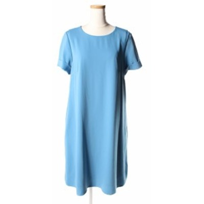 【中古】エムズセレクト m's select 17SS ワンピース ひざ丈 フレア 34 青 ブルー /mm0515 レディース