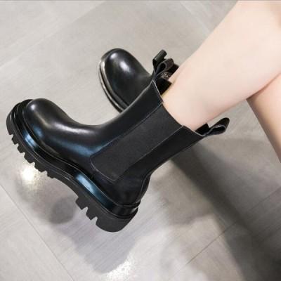 ショートブーツ レディース ショート丈 秋冬靴 2020新作 本革レザーブーツ ローヒール 太ヒール レースアップ  大きいサイズ
