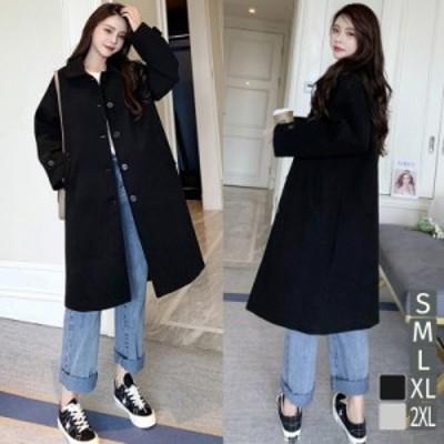 ステンカラーコート ロングコート カジュアル ロング丈 厚手 ブラック グレー ゆったりサイズ レディース アウター
