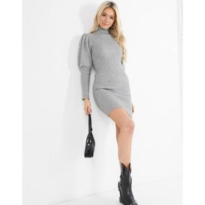 キューイーディーロンドン レディース ワンピース トップス QED London high neck puff sleeve sweater dress in gray