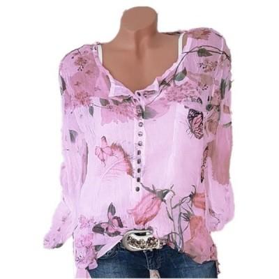 レディース 衣類 トップス Long Sleeve Print Women Casual Chiffon Buttons Blouse ブラウス&シャツ