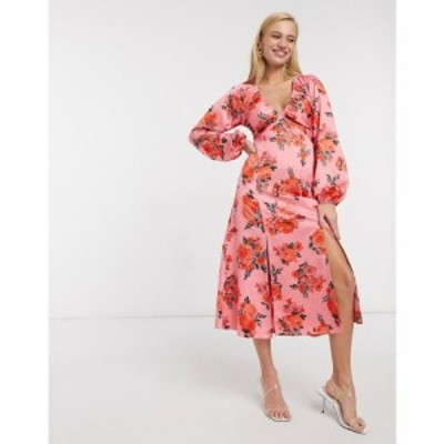 エイソス ASOS DESIGN レディース ワンピース ミドル丈 ワンピース・ドレス Satin Midi Dress With Splits In Rose Floral