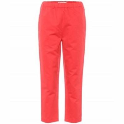 マルニ クロップド Cotton and linen cropped trousers Lacquer