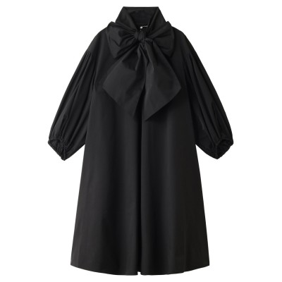 M・fil エムフィル 【ELLE SHOP限定】 タフタボウタイボリュームスリーブドレス レディース ブラック 36