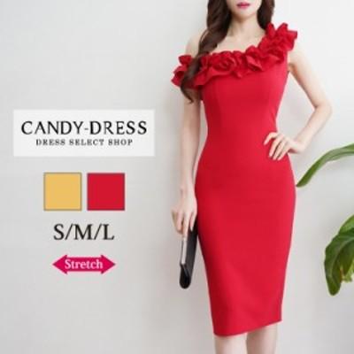 【予約】S/M/L 送料無料 Luxury Dress ストレッチ無地×ギャザーフリルレイヤードワンショルダータイトミディドレス SY200403 膝丈 ワン