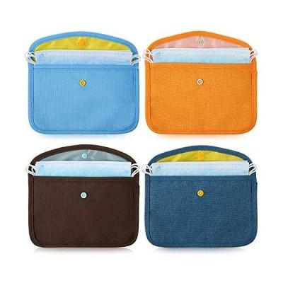 ポータブルフェイスカバーストレージバッグ 布製フェイスカバーオーガナイザーケース 化粧品容器 フェイカバークリップ 汚染防止バッグ (ダークブルー、ブ