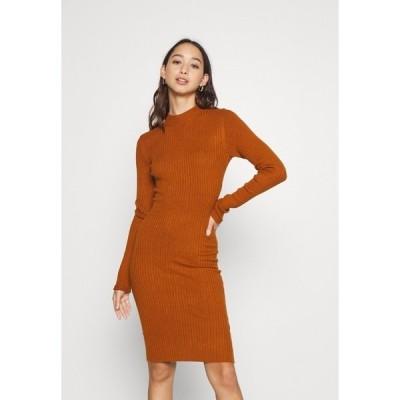 エブンアンドオッド ワンピース レディース トップス Shift dress - brown
