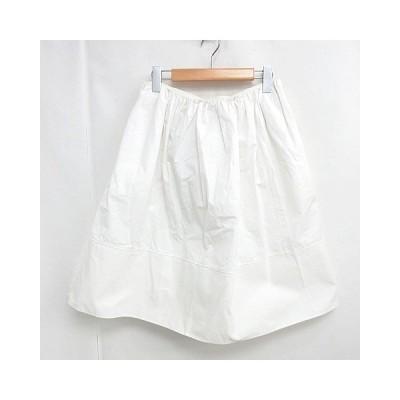 【中古】クロエ CHLOE 膝丈 スカート ギャザー バックリボン コットン フレア ホワイト 白 34 0224 レディース 【ベクトル 古着】