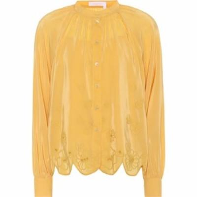 クロエ See By Chloe レディース ブラウス・シャツ トップス Embroidered silk-blend blouse Ochre
