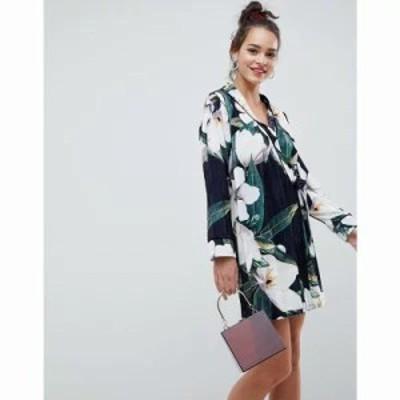 エイソス ワンピース bamboo print velvet mini wrap dress Bamboo print
