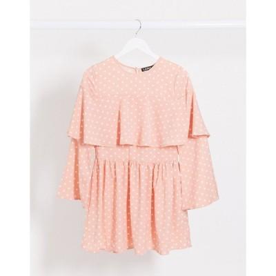 ラスーラ ミディドレス レディース Lasula polka dot shift dress in pink エイソス ASOS ピンク