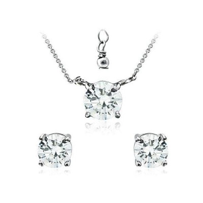 CRYSTAL ICE Rhodium Plated Sterling Silver Stud Earrings & Necklace, Diamon