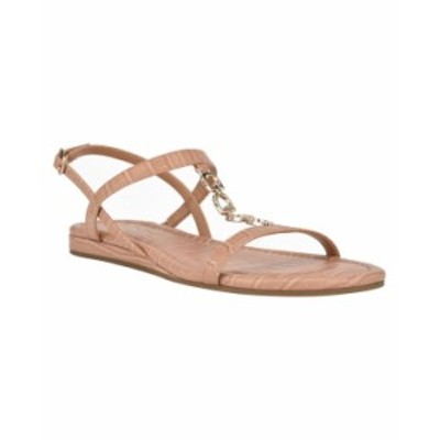 ゲス レディース サンダル シューズ Women's Jillen Flat Sandals Tan Croc Gold-Tone