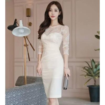 韓国 ファッション レディース ワンピース パーティードレス ひざ丈 透け感 レース 上品 きれいめ セクシー タイト お呼ばれ 同窓会 食事