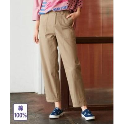 パンツ ストレート 大きいサイズ レディース 綿100% 9分丈  ベージュ/モカブラウン L/LL/3L ニッセン