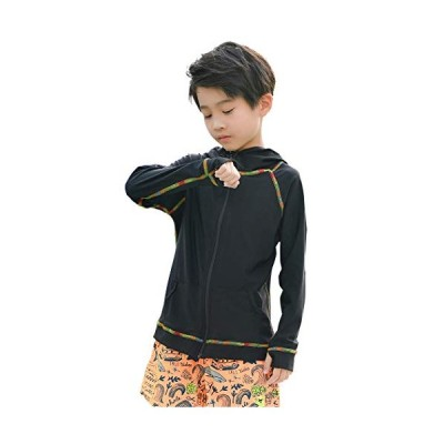 Teddy ラッシュガード 長袖 キッズ 女の子 男の子 水着素材 紫外線対策 水陸両用 rashguard003 (ブラック, 110cm