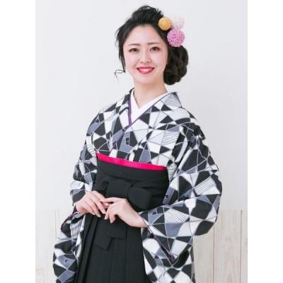 幾何学模様I|卒業式袴フルセット(黒白系)(黒系)|卒業袴(普通サイズ) HAGC330(24)