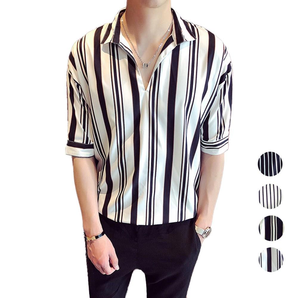 CPMAX 韓系帥氣七分袖寬鬆條紋襯衫 短袖襯衫 七分袖襯衫 男襯衫 休閒襯衫 帥氣襯衫 透氣舒適寬鬆襯衫 襯衫 B51