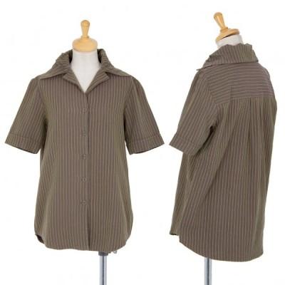 ロメオジリROMEO GIGLI デザイン衿ストライプコットンシャツ カーキ9 【レディース】
