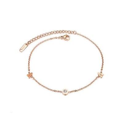 YHDNCG Women's Anklet Bracelet Flower Shape Beach Accessories Rose Gold Stainless Steel Anklet Best Gift for Women