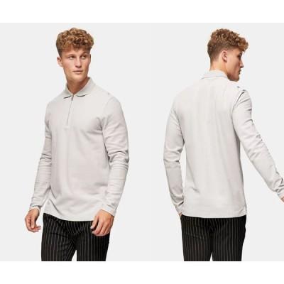 トップマン ロング ポロシャツ シャツ Topman ピケロングスリーブポロシャツ