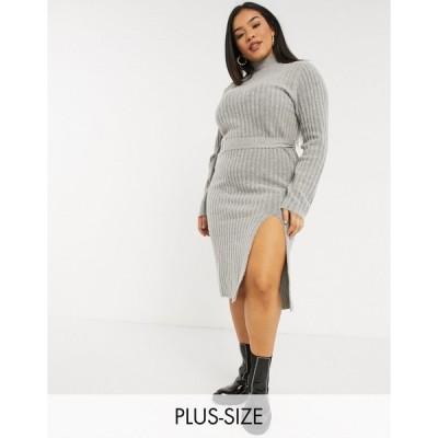 アーバンブリス ドレス 大きいサイズ レディース Urban Bliss Plus knitted dress with belt エイソス ASOS グレー 灰色