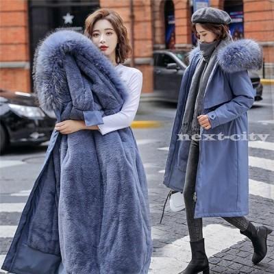 コート レディース ファーコート モッズコート アウター ジャケット フェイクファー付 ファー ロングコート もこもこ フード付き 秋 冬 暖かい 女性 防寒