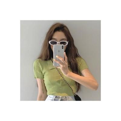 【送料無料】韓国風 レトロ 小さなラペル 半袖ニット シャツ シャツ 女 夏 ネット レッド   364331_A63639-3507027