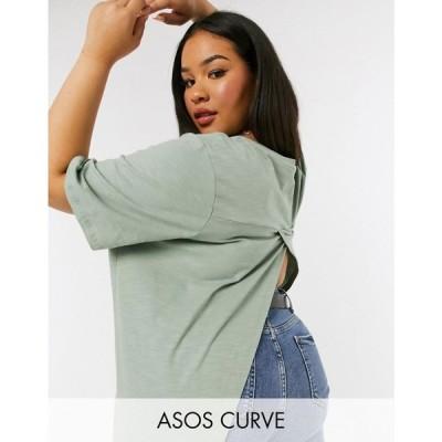 エイソス ASOS Curve レディース Tシャツ トップス ASOS DESIGN Curve textured t-shirt with wrap back in sage セージ