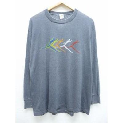 XL★古着 ビンテージ 長袖 Tシャツ 80年代 リレー USA製 グレー 霜降り