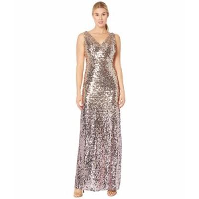 マリーナ レディース ワンピース トップス Sleeveless Ombre Sequin Gown with V-Neckline Gold/Rose