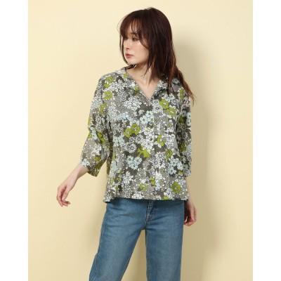 カンカン KANKAN レトロフラワープリントシャツ (グリーン)