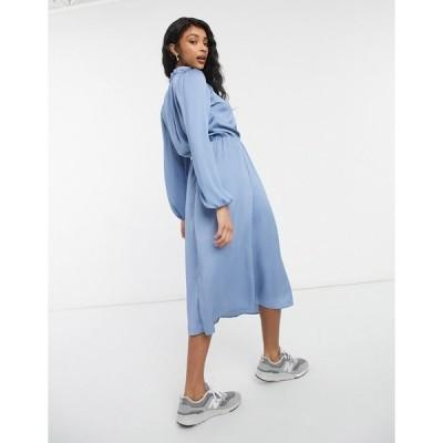 ミスセルフフリッジ レディース ワンピース トップス Miss Selfridge satin midi dress in blue Blues
