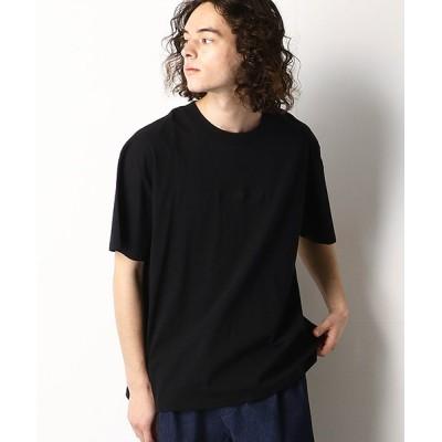 (Purple & Yellow/パープルアンドイエローメンズ)バックプリント ワイドTシャツ/ユニセックス ブラック