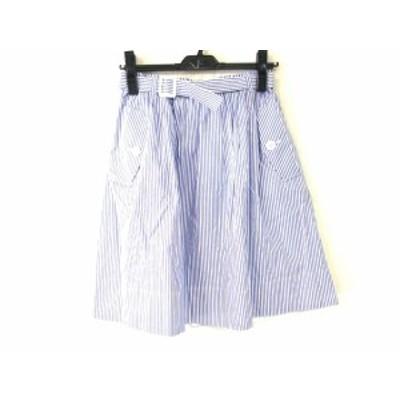 ブルーレーベルクレストブリッジ スカート サイズ36 S レディース 美品 - 白×ブルーグレー ひざ丈/ストライプ【中古】20201016