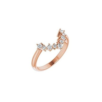 Solid 14k Rose Gold Solitaire 1/5 Cttw Diamond Matching Ring Band - Size 7