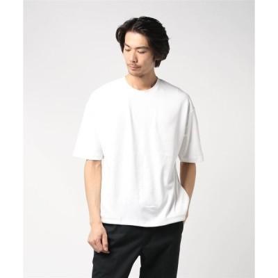 tシャツ Tシャツ 裾スピンドルビッグシルエット5分袖ビッグTシャツカットソー