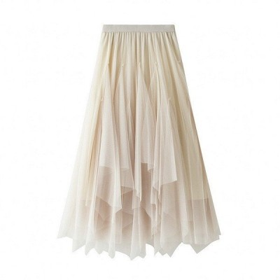 チュールスカート スカート春 スカート スカートコーデ ボトムス スカート レディース マキシ丈スカート ウエストゴム 体型カバー 可愛い