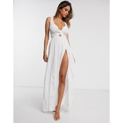 エイソス レディース ワンピース トップス ASOS DESIGN fuller bust tie back beach maxi dress with twist front in white