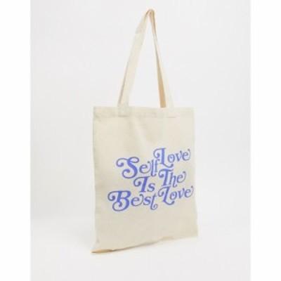 エイソス ASOS DESIGN メンズ トートバッグ バッグ Heavyweight Tote Bag With Self Love Print ベージュ