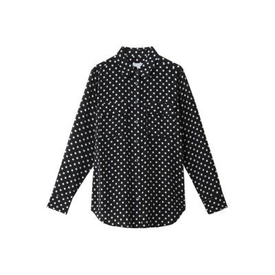 EQUIPMENT エキップモン SLIM SIGNATURE ドットプリントシルクシャツ レディース ダークブルー XS