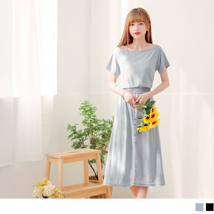 台灣製造.慵懶小法式3way領收腰鬆緊長洋裝
