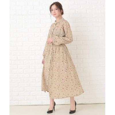 【レースレディース】 花柄フレア 長袖ロングワンピース レディース ベージュ フリーサイズ Lace Ladies