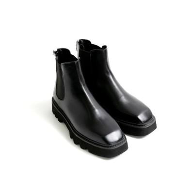 ブーツ スクエアトゥサイドゴアブーツ