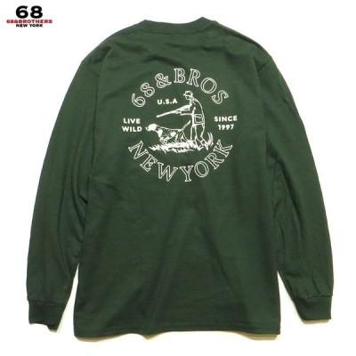 "68&BROTHERS 68&ブラザーズ トップス  Tシャツ L/S Tee ""LIVE WILD"" ロンTEE ロングスリーブTシャツ 長袖Tシャツ"
