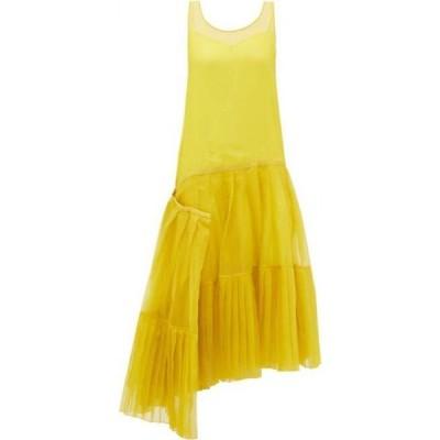 ロシャス Rochas レディース ワンピース ワンピース・ドレス Asymmetric pleated silk-organza dress Yellow