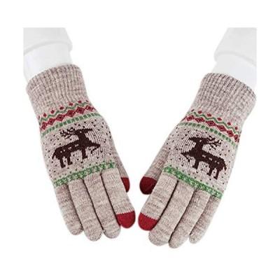 QinTian レディース ニット 手袋 フルフィンガー 冬のミトン 女性手袋 厚手 (カーキ Free Size)