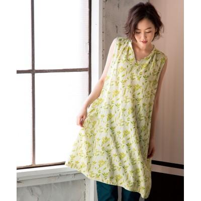 重ね着に使える花柄チュニックワンピース (ワンピース)Dress