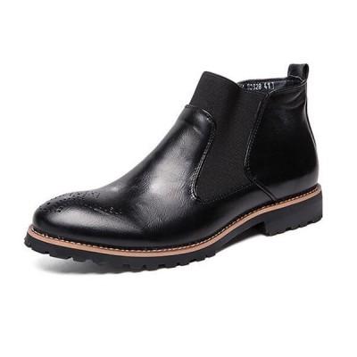 メンズ ビジネスブーツ サイドゴア チェルシーブーツ 防水 防滑 ウイングチップ イングランド風